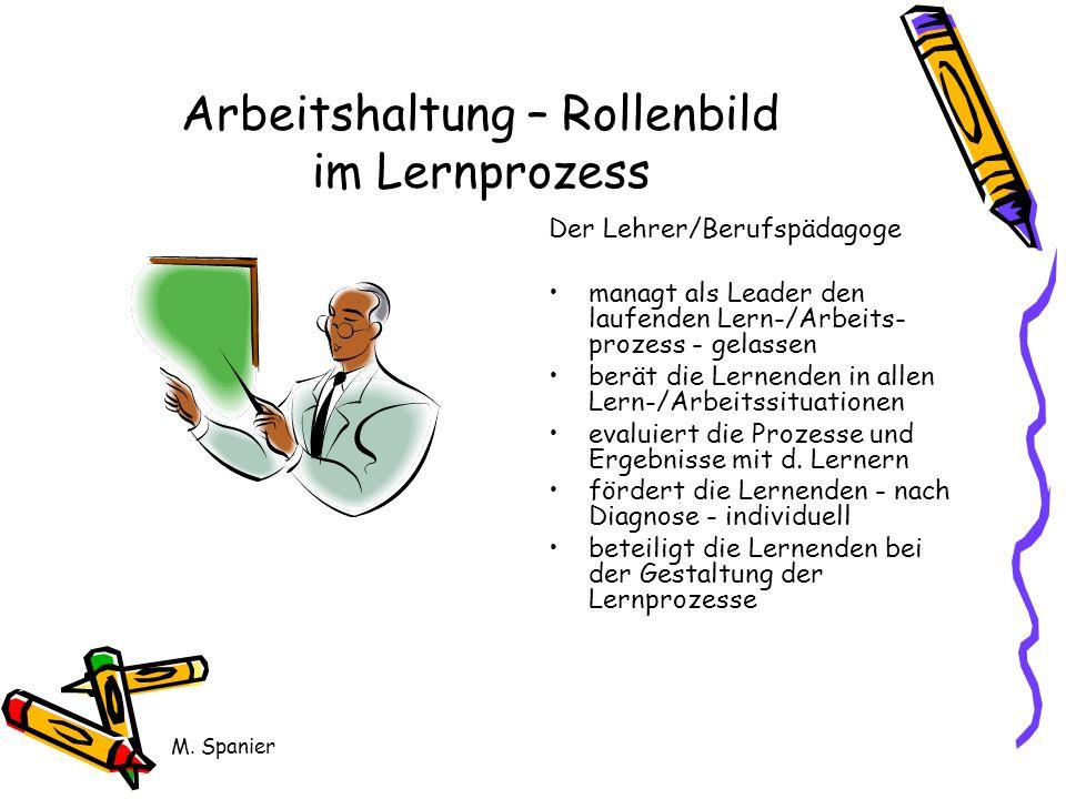 M. Spanier Arbeitshaltung – Rollenbild im Lernprozess Der Lehrer/Berufspädagoge managt als Leader den laufenden Lern-/Arbeits- prozess - gelassen berä