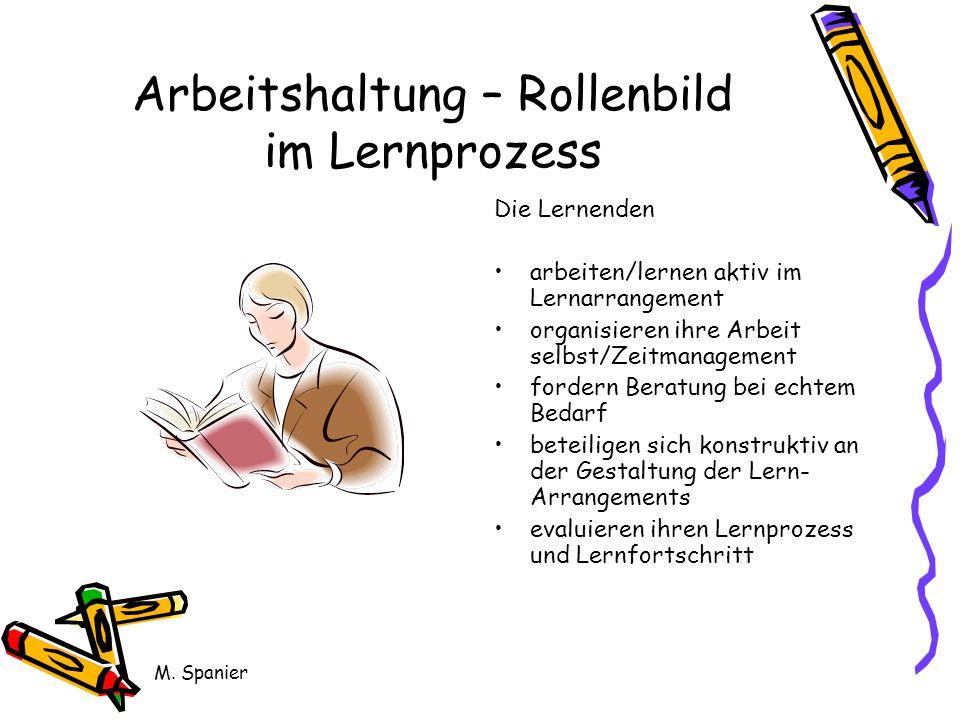 M. Spanier Arbeitshaltung – Rollenbild im Lernprozess Die Lernenden arbeiten/lernen aktiv im Lernarrangement organisieren ihre Arbeit selbst/Zeitmanag
