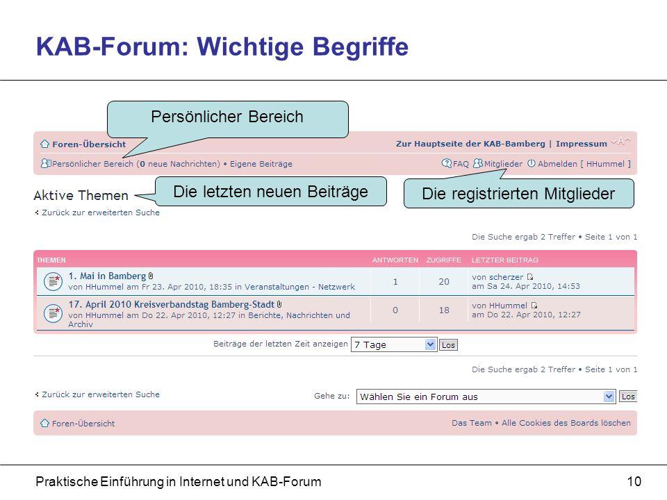 Praktische Einführung in Internet und KAB-Forum10 KAB-Forum: Wichtige Begriffe Die letzten neuen Beiträge Die registrierten Mitglieder Persönlicher Bereich