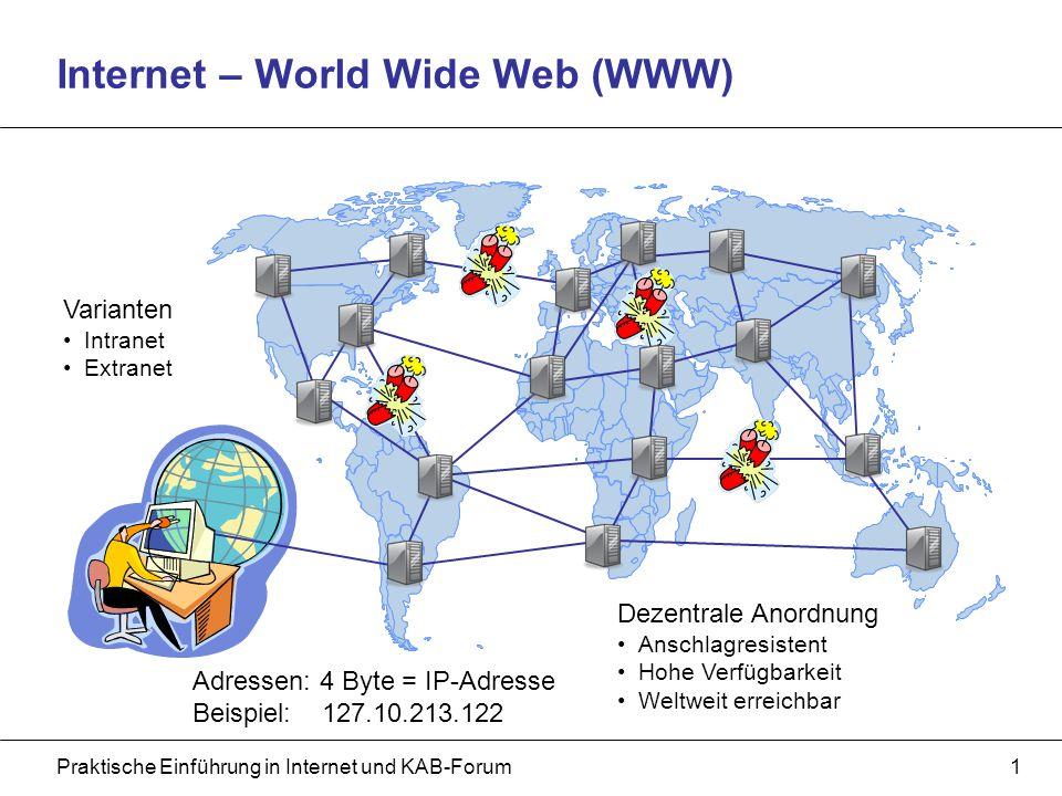 Praktische Einführung in Internet und KAB-Forum1 Internet – World Wide Web (WWW) Dezentrale Anordnung Anschlagresistent Hohe Verfügbarkeit Weltweit erreichbar Varianten Intranet Extranet Adressen: 4 Byte = IP-Adresse Beispiel: 127.10.213.122