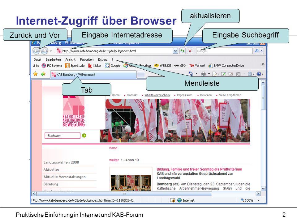 Praktische Einführung in Internet und KAB-Forum2 Internet-Zugriff über Browser Eingabe Internetadresse Eingabe Suchbegriff Zurück und Vor aktualisieren Menüleiste Tab