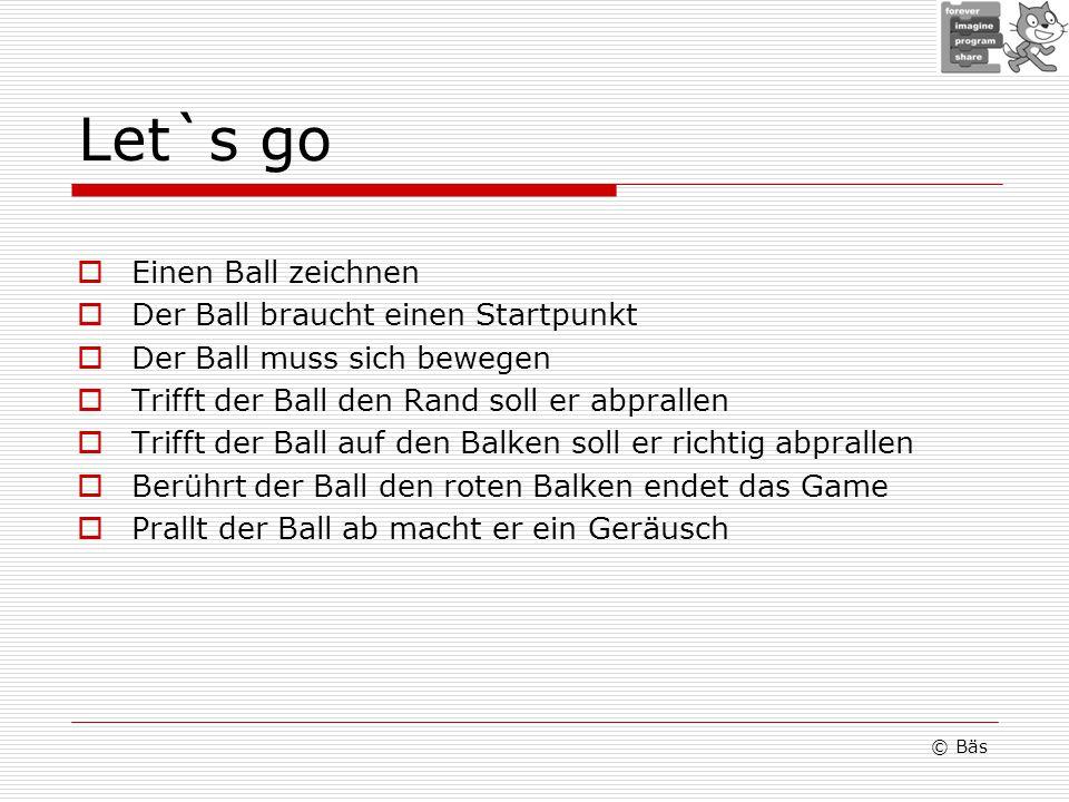 Let`s go Einen Ball zeichnen Der Ball braucht einen Startpunkt Der Ball muss sich bewegen Trifft der Ball den Rand soll er abprallen Trifft der Ball a