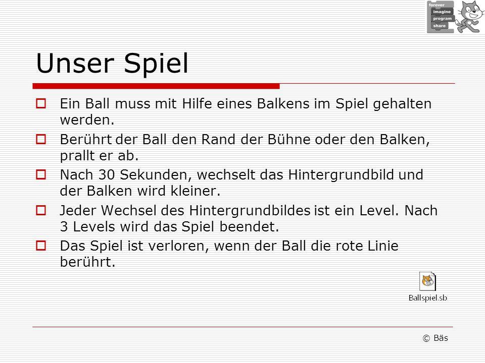 Unser Spiel Ein Ball muss mit Hilfe eines Balkens im Spiel gehalten werden.
