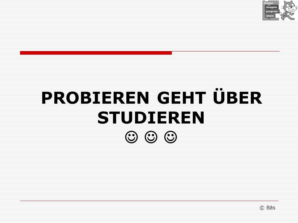 PROBIEREN GEHT ÜBER STUDIEREN © Bäs