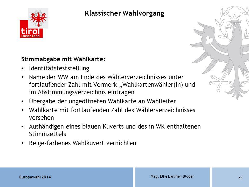 Europawahl 2014 Mag. Elke Larcher-Bloder Stimmabgabe mit Wahlkarte: Identitätsfeststellung Name der WW am Ende des Wählerverzeichnisses unter fortlauf