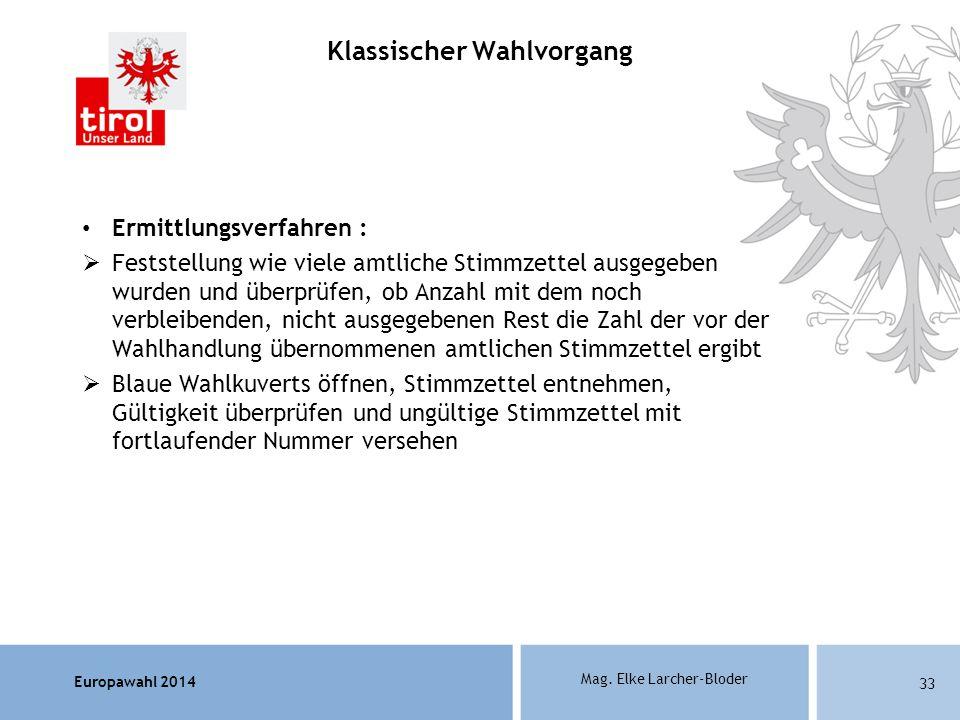 Europawahl 2014 Mag. Elke Larcher-Bloder Ermittlungsverfahren : Feststellung wie viele amtliche Stimmzettel ausgegeben wurden und überprüfen, ob Anzah
