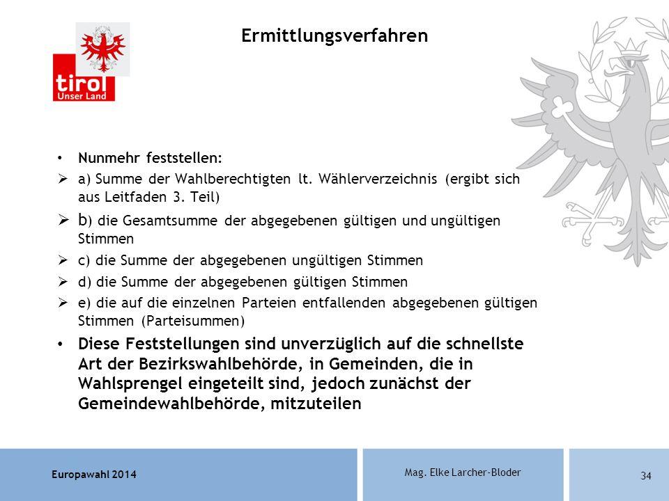 Europawahl 2014 Mag. Elke Larcher-Bloder Nunmehr feststellen: a) Summe der Wahlberechtigten lt. Wählerverzeichnis (ergibt sich aus Leitfaden 3. Teil)