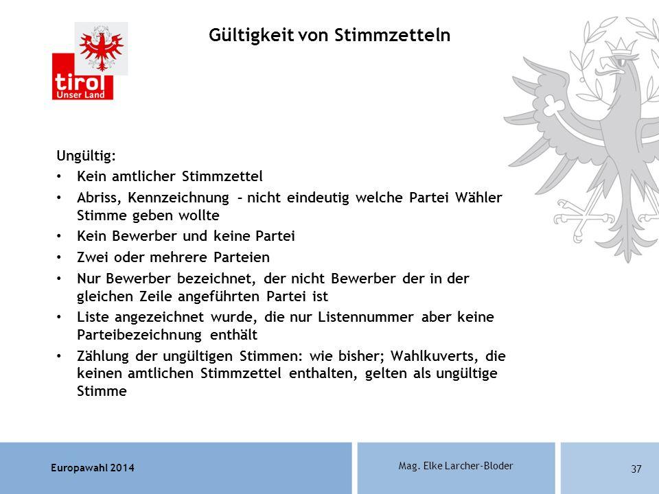 Europawahl 2014 Mag. Elke Larcher-Bloder Ungültig: Kein amtlicher Stimmzettel Abriss, Kennzeichnung – nicht eindeutig welche Partei Wähler Stimme gebe