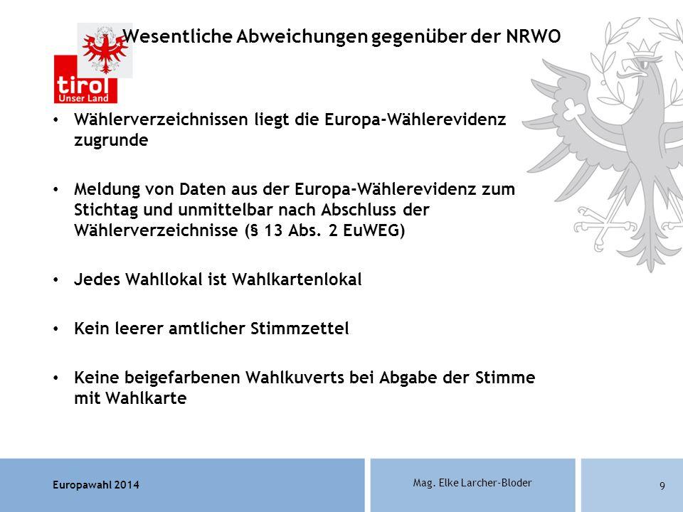 Europawahl 2014 Mag. Elke Larcher-Bloder Wählerverzeichnissen liegt die Europa-Wählerevidenz zugrunde Meldung von Daten aus der Europa-Wählerevidenz z