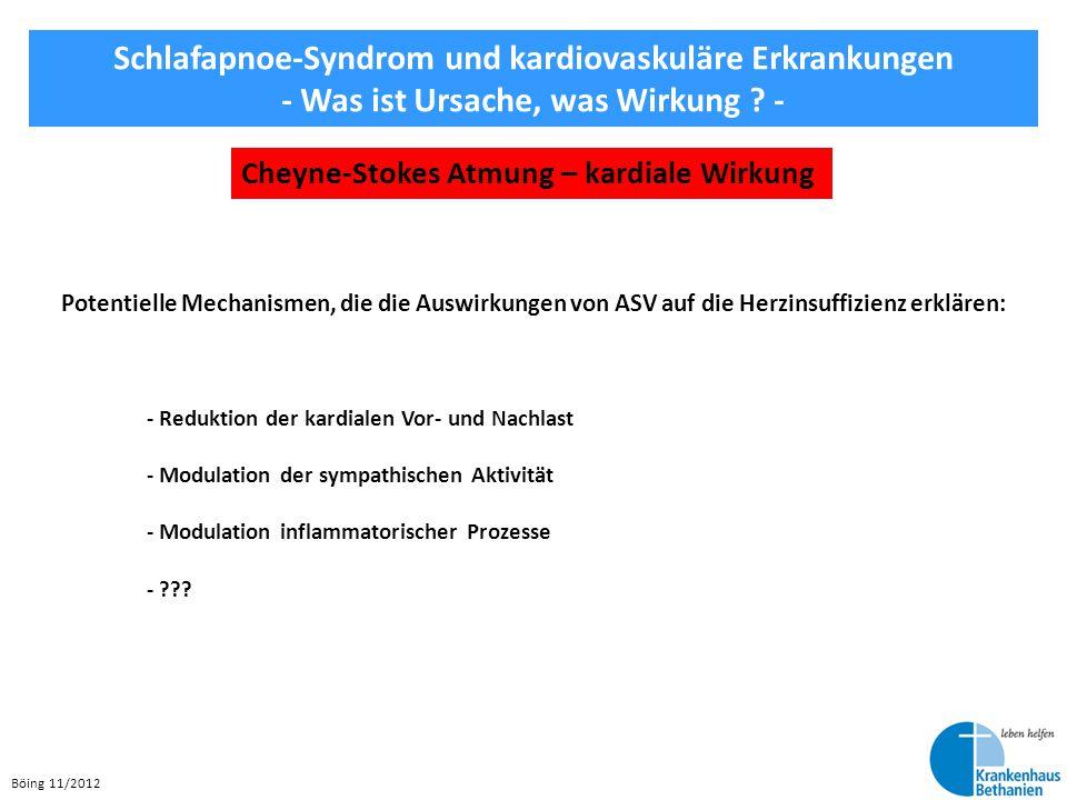 Böing 11/2012 Schlafapnoe-Syndrom und kardiovaskuläre Erkrankungen - Was ist Ursache, was Wirkung ? - Cheyne-Stokes Atmung – kardiale Wirkung Potentie