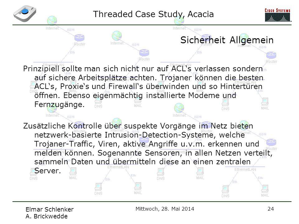 Threaded Case Study, Acacia Elmar Schlenker A. Brickwedde Mittwoch, 28. Mai 201424 Sicherheit Allgemein Prinzipiell sollte man sich nicht nur auf ACLs