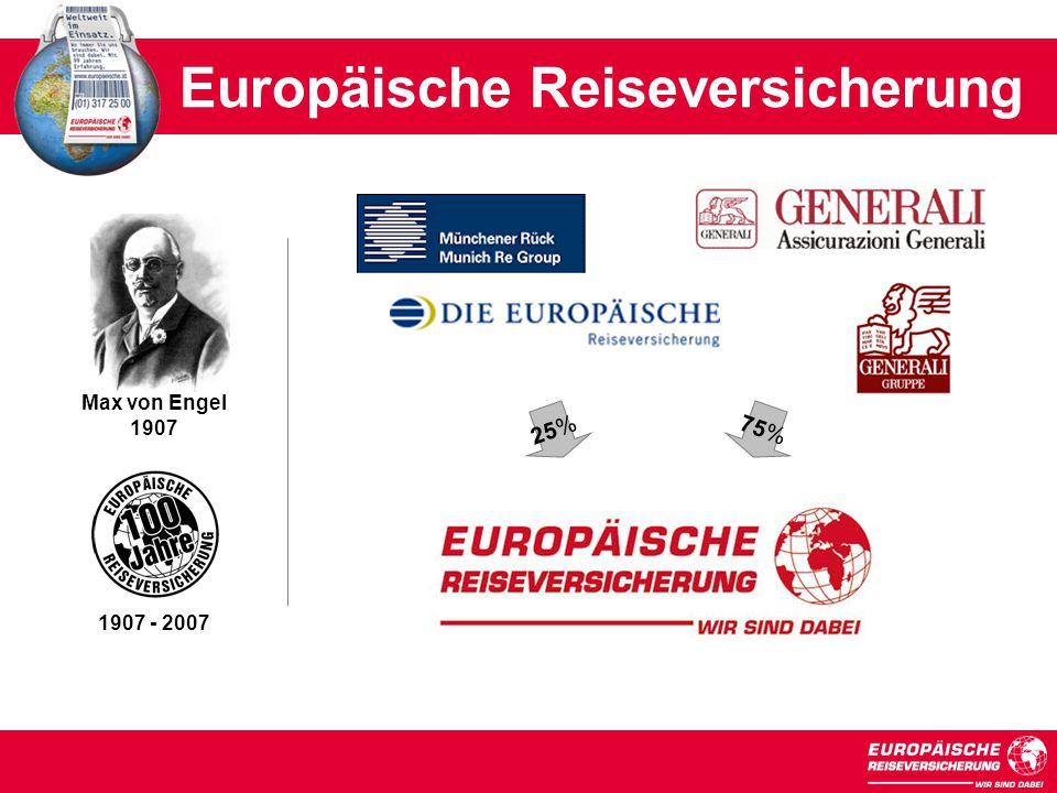 Max von Engel 1907 25% Europäische Reiseversicherung 1907 - 2007 75%