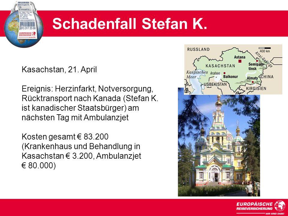 Kasachstan, 21.April Ereignis: Herzinfarkt, Notversorgung, Rücktransport nach Kanada (Stefan K.