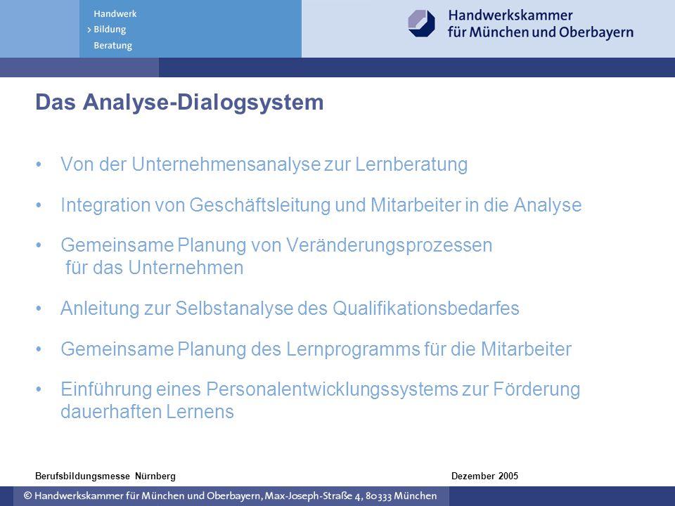 Dezember 2005Berufsbildungsmesse Nürnberg Das Analyse-Dialogsystem Von der Unternehmensanalyse zur Lernberatung Integration von Geschäftsleitung und M