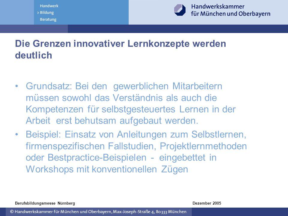 Dezember 2005Berufsbildungsmesse Nürnberg Die Grenzen innovativer Lernkonzepte werden deutlich Grundsatz: Bei den gewerblichen Mitarbeitern müssen sow