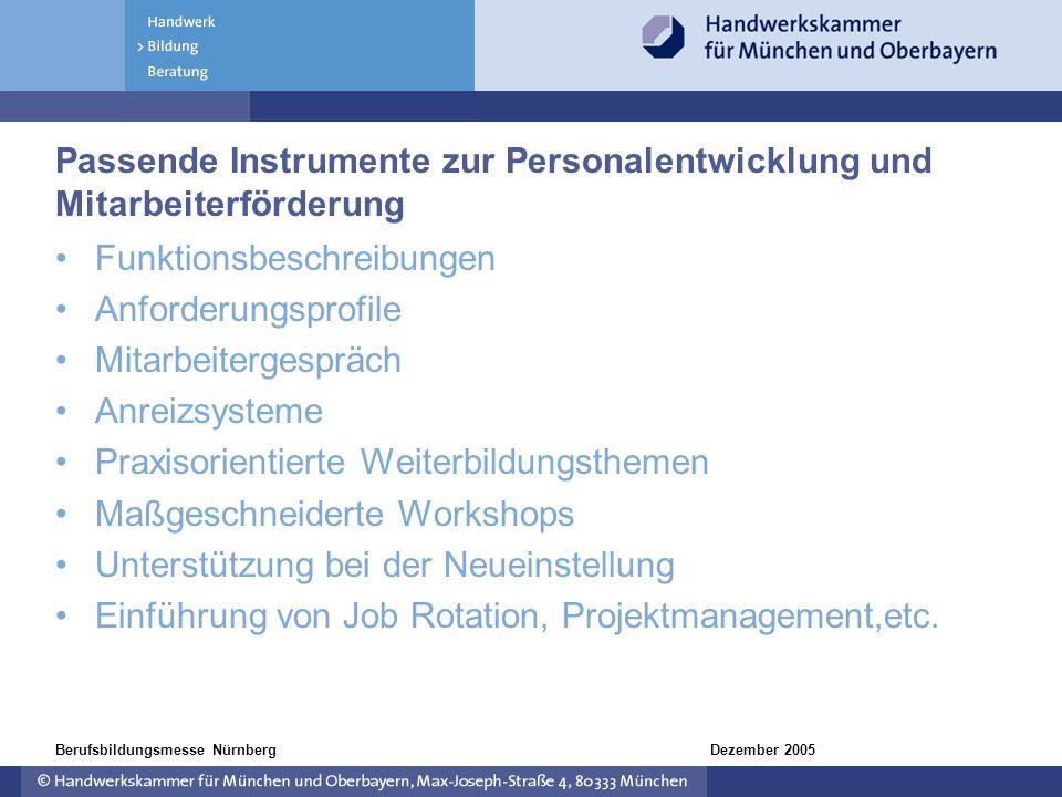 Dezember 2005Berufsbildungsmesse Nürnberg Passende Instrumente zur Personalentwicklung und Mitarbeiterförderung Funktionsbeschreibungen Anforderungspr