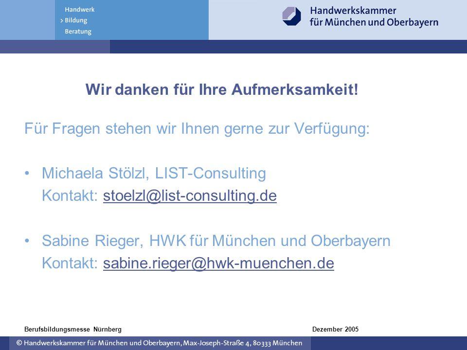 Dezember 2005Berufsbildungsmesse Nürnberg Wir danken für Ihre Aufmerksamkeit! Für Fragen stehen wir Ihnen gerne zur Verfügung: Michaela Stölzl, LIST-C