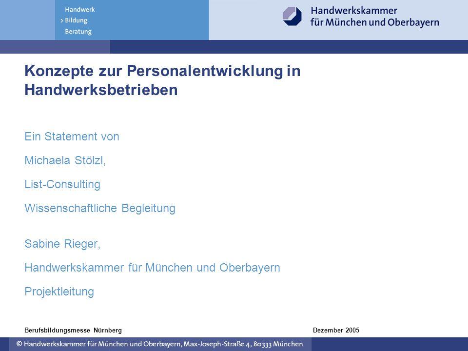 Dezember 2005Berufsbildungsmesse Nürnberg Konzepte zur Personalentwicklung in Handwerksbetrieben Ein Statement von Michaela Stölzl, List-Consulting Wi