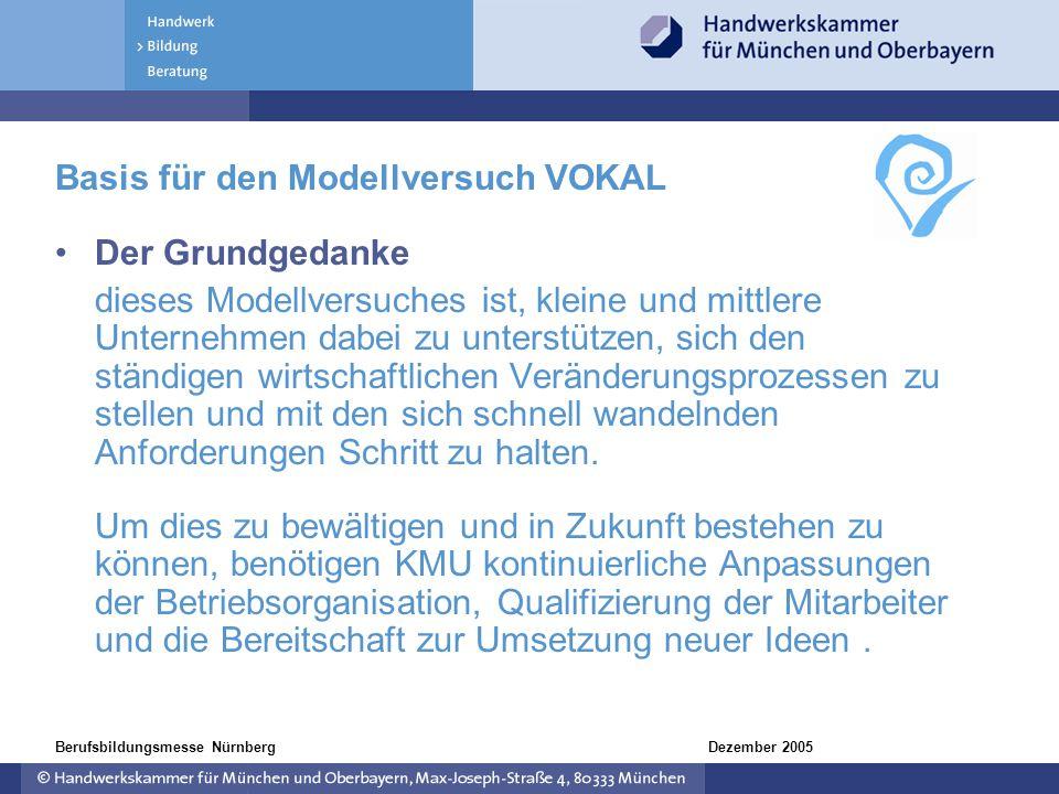 Dezember 2005Berufsbildungsmesse Nürnberg Der Grundgedanke dieses Modellversuches ist, kleine und mittlere Unternehmen dabei zu unterstützen, sich den