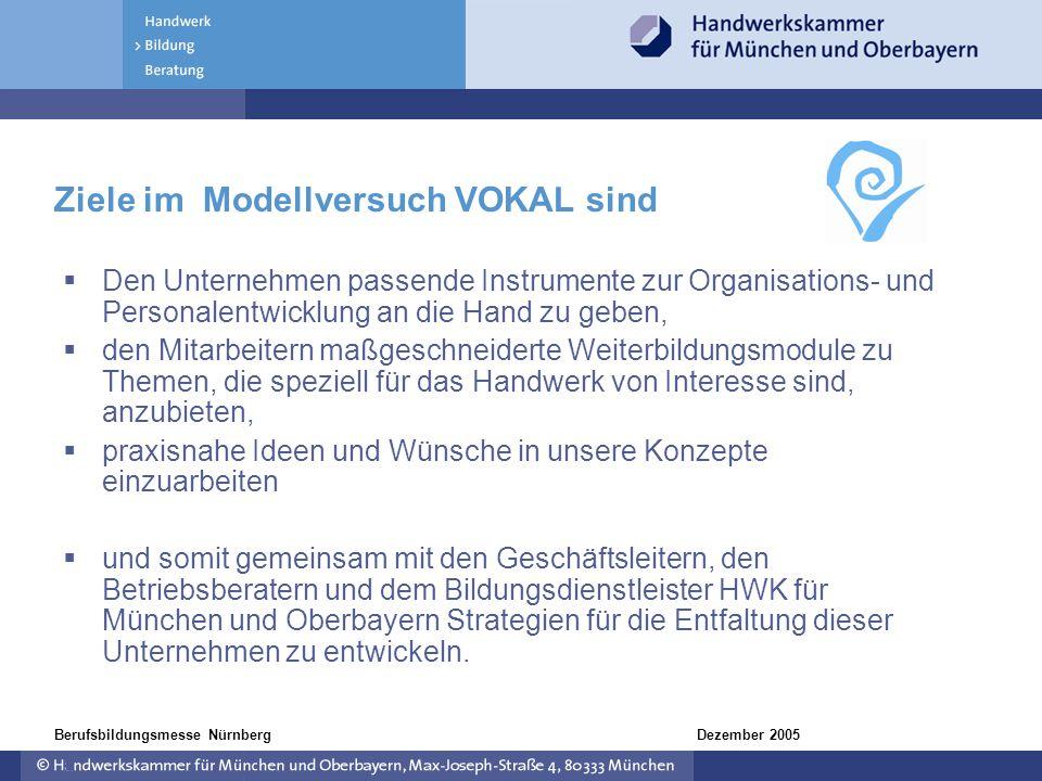 Dezember 2005Berufsbildungsmesse Nürnberg Ziele im Modellversuch VOKAL sind Den Unternehmen passende Instrumente zur Organisations- und Personalentwic