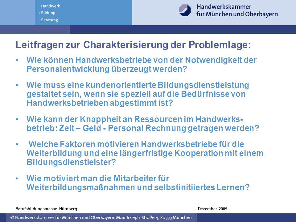 Dezember 2005Berufsbildungsmesse Nürnberg Leitfragen zur Charakterisierung der Problemlage: Wie können Handwerksbetriebe von der Notwendigkeit der Per