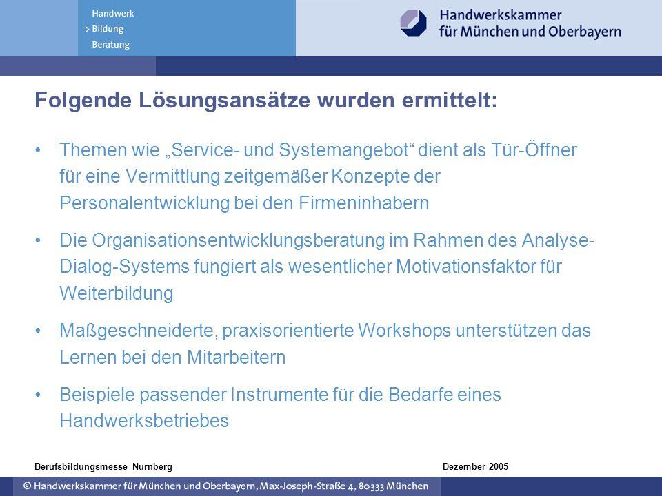 Dezember 2005Berufsbildungsmesse Nürnberg Folgende Lösungsansätze wurden ermittelt: Themen wie Service- und Systemangebot dient als Tür-Öffner für ein