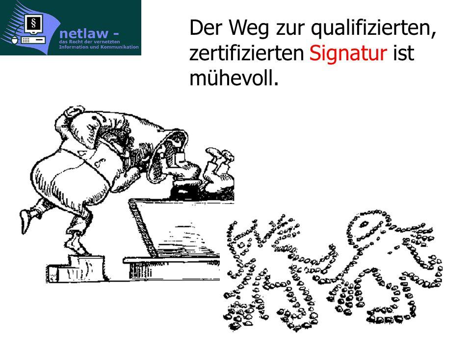 Der Weg zur qualifizierten, zertifizierten Signatur ist mühevoll.