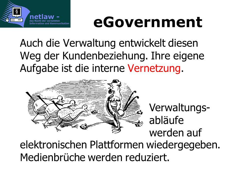 eGovernment Auch die Verwaltung entwickelt diesen Weg der Kundenbeziehung.