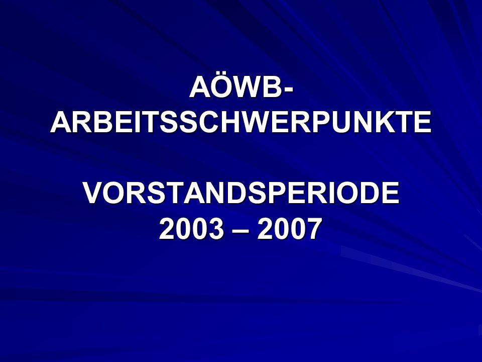 AÖWB- ARBEITSSCHWERPUNKTE VORSTANDSPERIODE 2003 – 2007