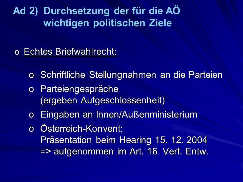o Echtes Briefwahlrecht: oSchriftliche Stellungnahmen an die Parteien oParteiengespräche (ergeben Aufgeschlossenheit) oEingaben an Innen/Außenminister
