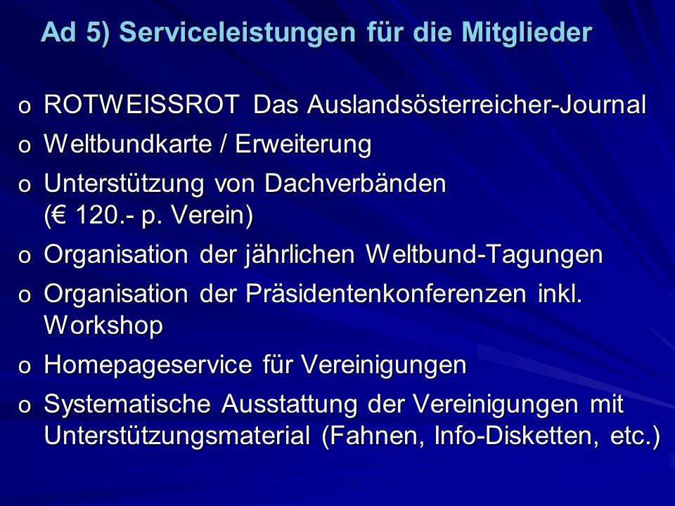 Ad 5) Serviceleistungen für die Mitglieder o ROTWEISSROT Das Auslandsösterreicher-Journal o Weltbundkarte / Erweiterung o Unterstützung von Dachverbänden ( 120.- p.