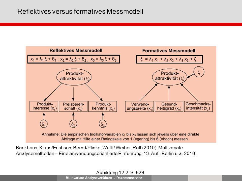 Multivariate Analyseverfahren - Dozentenservice Reflektives versus formatives Messmodell Abbildung 12.2, S. 529. Backhaus, Klaus/Erichson, Bernd/Plink