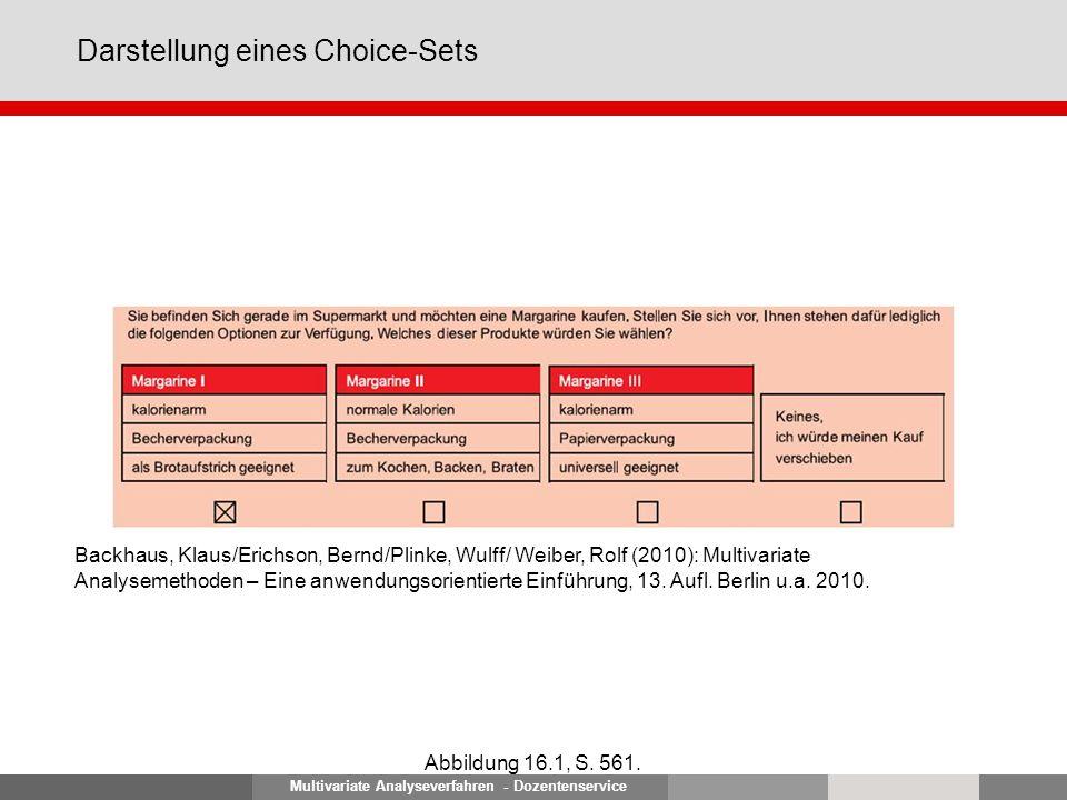 Multivariate Analyseverfahren - Dozentenservice Darstellung eines Choice-Sets Abbildung 16.1, S. 561. Backhaus, Klaus/Erichson, Bernd/Plinke, Wulff/ W
