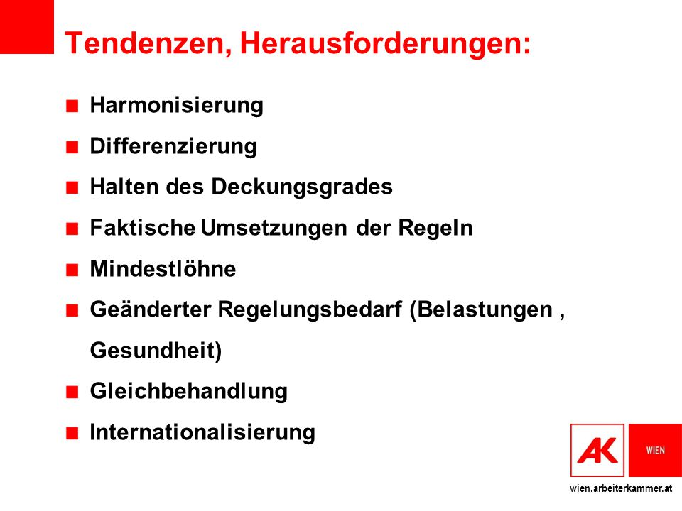 wien.arbeiterkammer.at Tendenzen, Herausforderungen: Harmonisierung Differenzierung Halten des Deckungsgrades Faktische Umsetzungen der Regeln Mindest