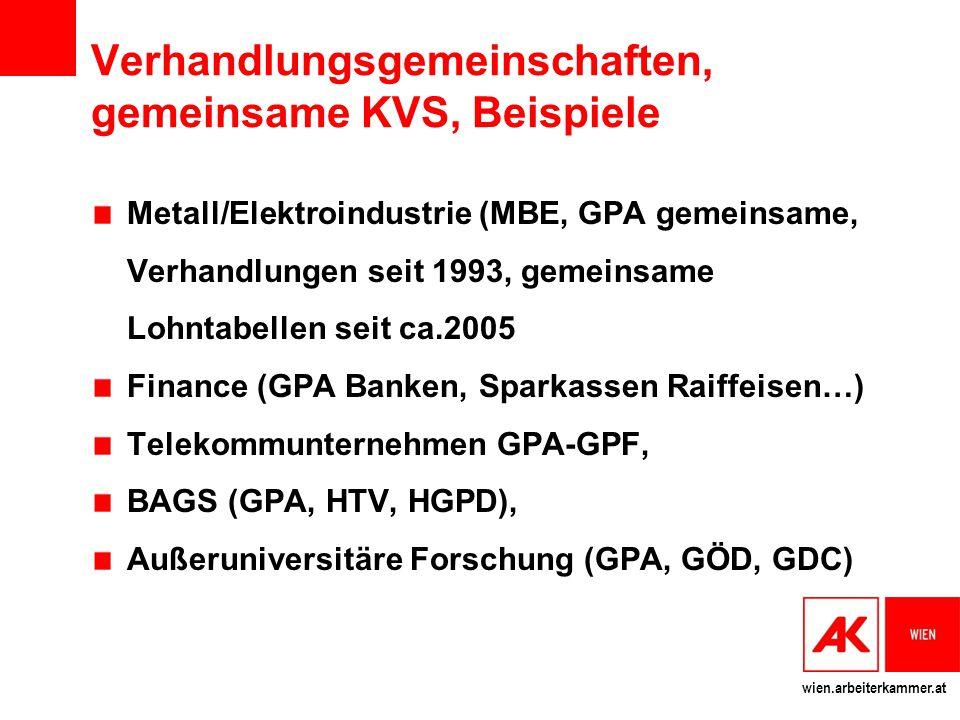 wien.arbeiterkammer.at Verhandlungsgemeinschaften, gemeinsame KVS, Beispiele Metall/Elektroindustrie (MBE, GPA gemeinsame, Verhandlungen seit 1993, ge