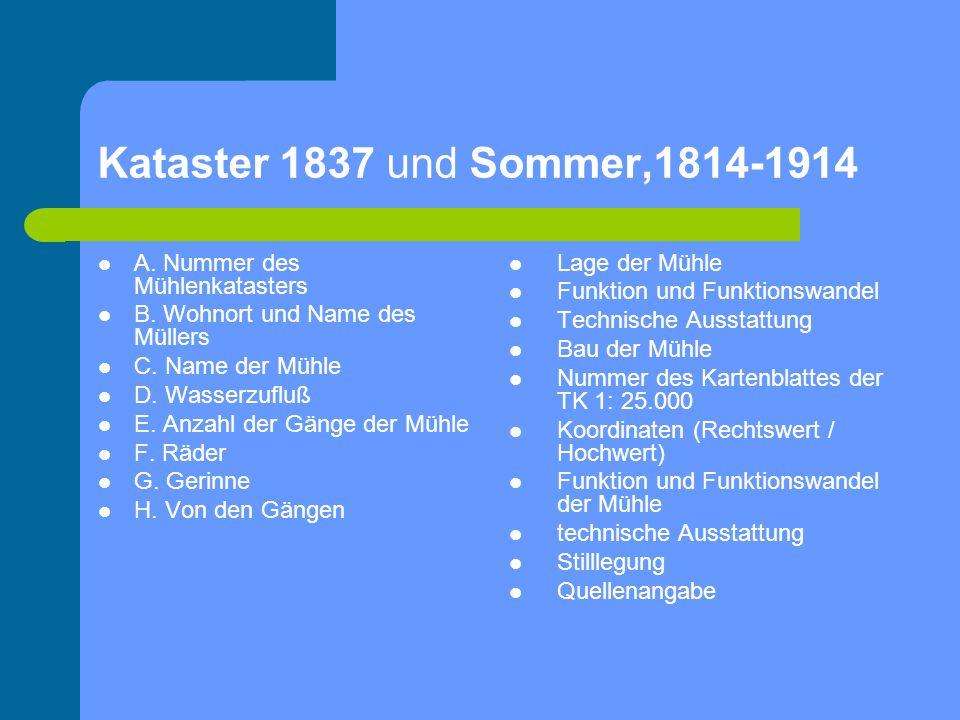 Kataster 1837 und Sommer,1814-1914 A. Nummer des Mühlenkatasters B. Wohnort und Name des Müllers C. Name der Mühle D. Wasserzufluß E. Anzahl der Gänge