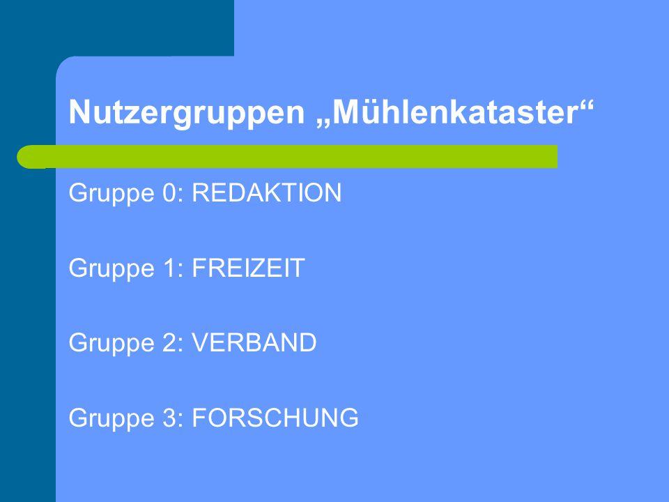 Nutzergruppen Mühlenkataster Gruppe 0: REDAKTION Gruppe 1: FREIZEIT Gruppe 2: VERBAND Gruppe 3: FORSCHUNG