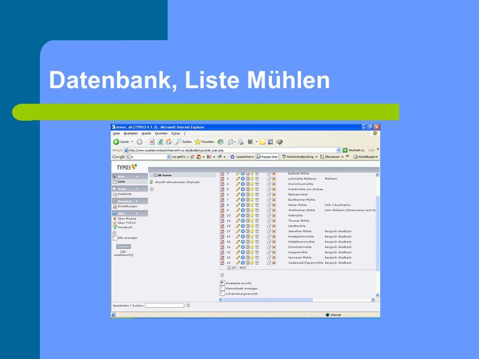 Datenbank, Liste Mühlen