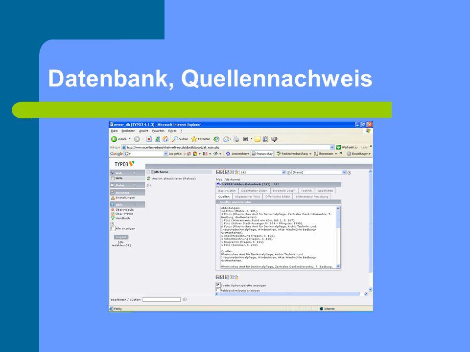 Datenbank, Quellennachweis