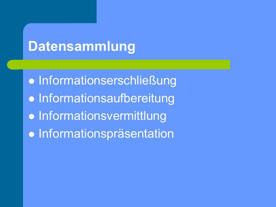 Datensammlung Informationserschließung Informationsaufbereitung Informationsvermittlung Informationspräsentation