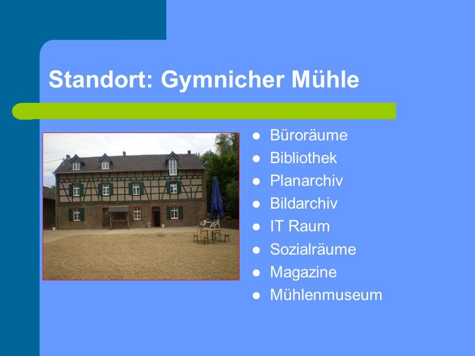 Standort: Gymnicher Mühle Büroräume Bibliothek Planarchiv Bildarchiv IT Raum Sozialräume Magazine Mühlenmuseum
