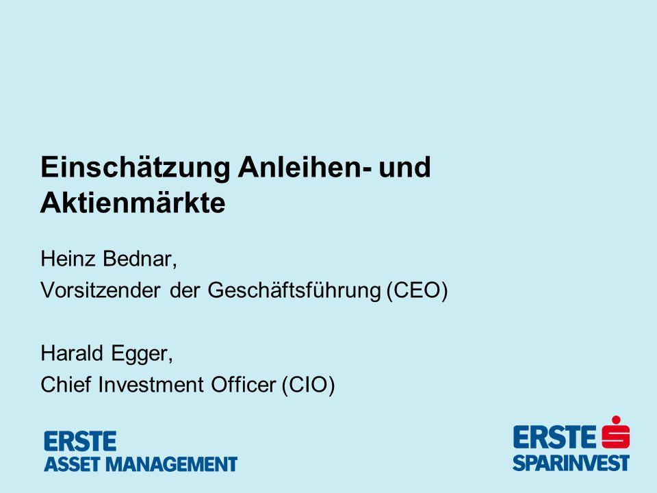 Einschätzung Anleihen- und Aktienmärkte Heinz Bednar, Vorsitzender der Geschäftsführung (CEO) Harald Egger, Chief Investment Officer (CIO)