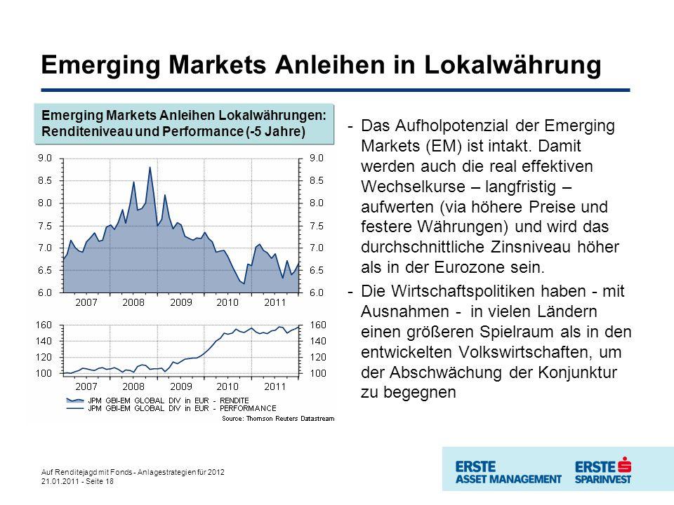 Auf Renditejagd mit Fonds - Anlagestrategien für 2012 21.01.2011 - Seite 18 Emerging Markets Anleihen in Lokalwährung -Das Aufholpotenzial der Emerging Markets (EM) ist intakt.
