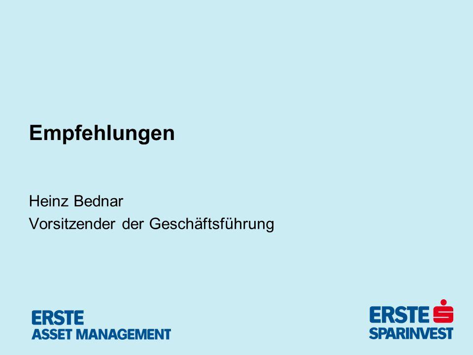 Empfehlungen Heinz Bednar Vorsitzender der Geschäftsführung
