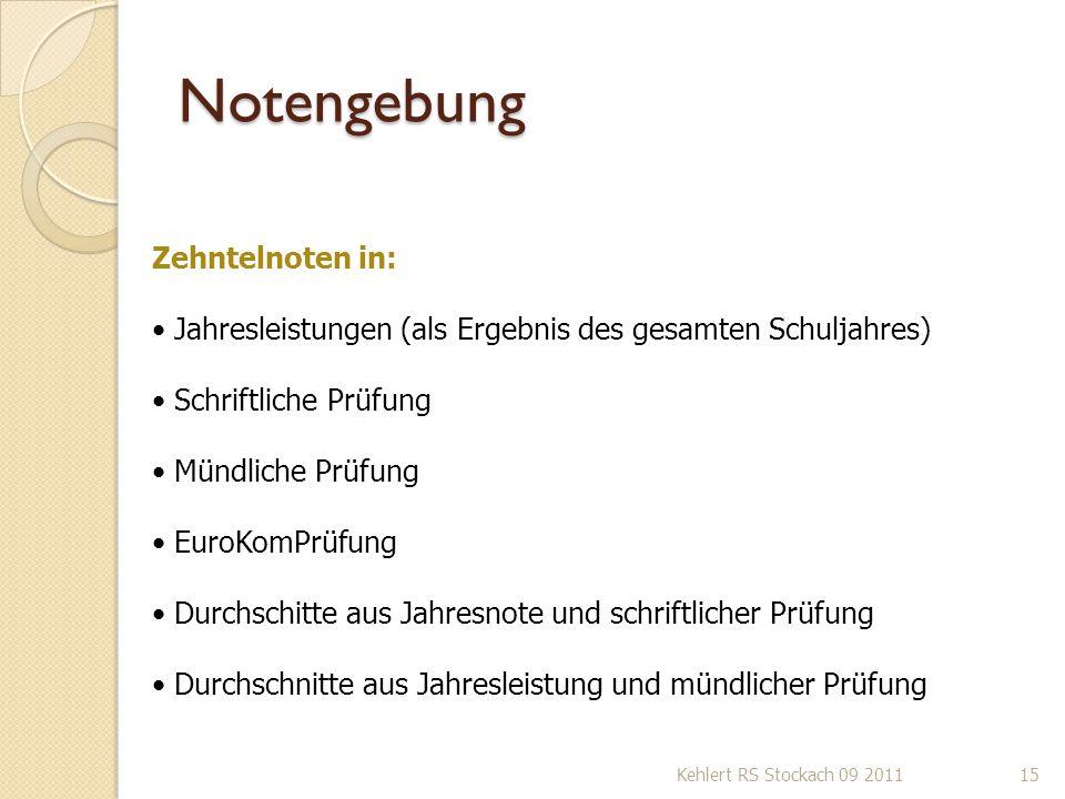 Notengebung Kehlert RS Stockach 09 201115 Zehntelnoten in: Jahresleistungen (als Ergebnis des gesamten Schuljahres) Schriftliche Prüfung Mündliche Prü