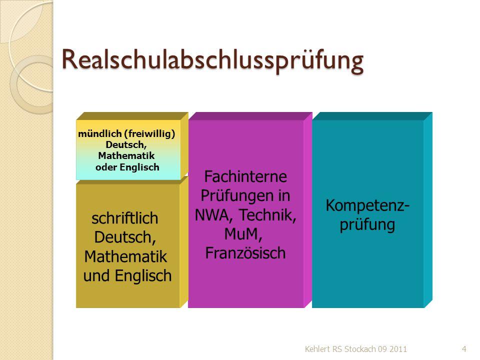 Realschulabschlussprüfung Kehlert RS Stockach 09 20114 Fachinterne Prüfungen in NWA, Technik, MuM, Französisch Kompetenz- prüfung schriftlich Deutsch,