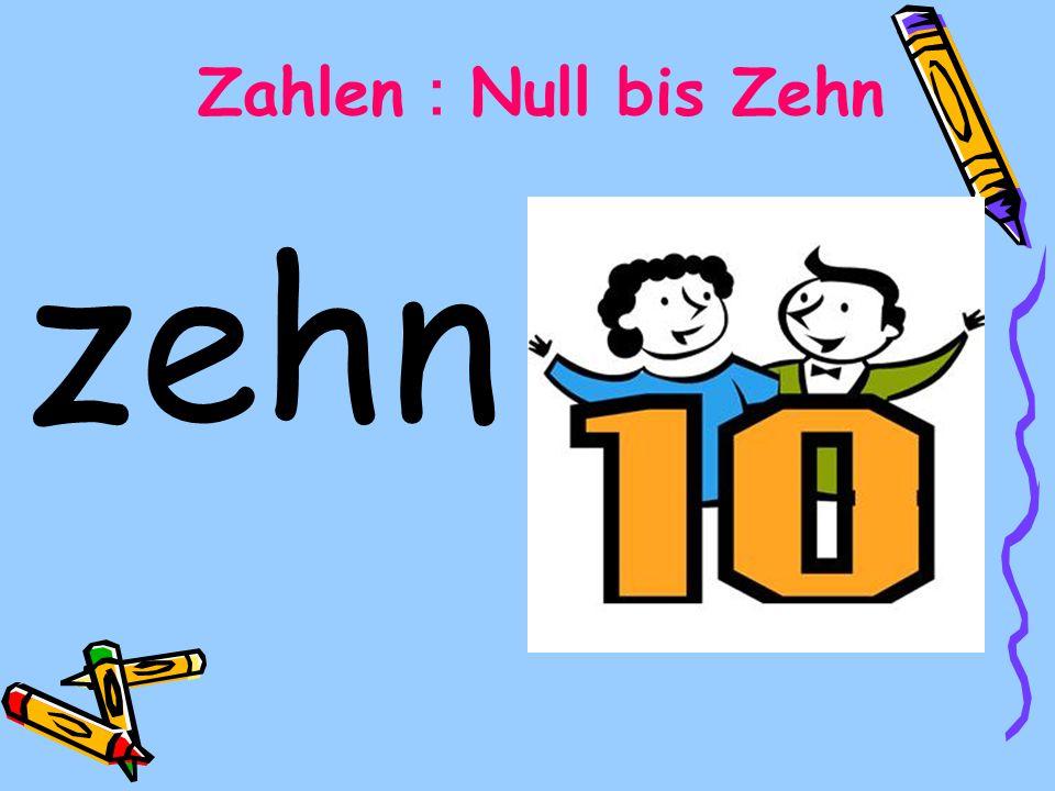 zehn Zahlen Null bis Zehn