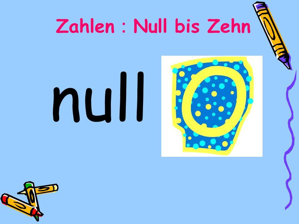 null Zahlen Null bis Zehn