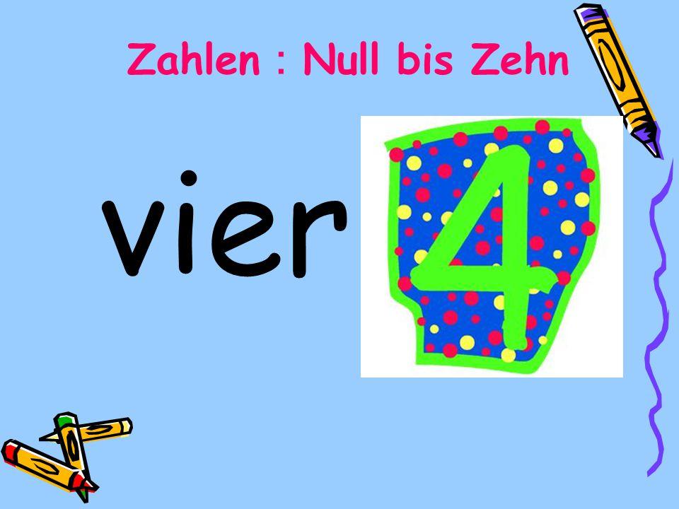 vier Zahlen Null bis Zehn