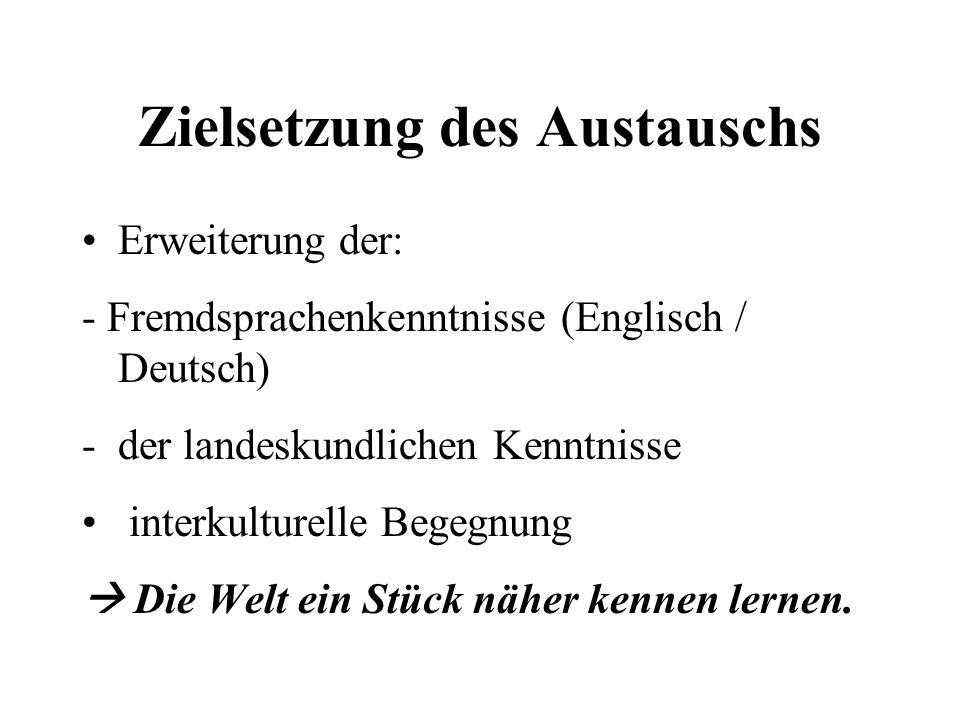 Zielsetzung des Austauschs Erweiterung der: - Fremdsprachenkenntnisse (Englisch / Deutsch) -der landeskundlichen Kenntnisse interkulturelle Begegnung